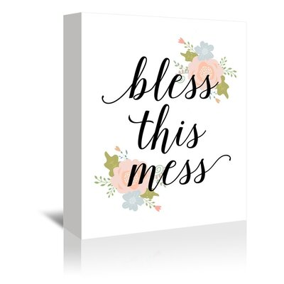 Americanflat Bless This Mess Typography Wrapped on Canvas