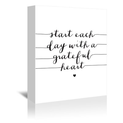 Americanflat Start Each Day with a Grateful Heart Typography Wrapped on Canvas