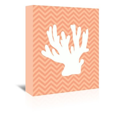 Americanflat Coral Chevron Graphic Art Wrapped on Canvas