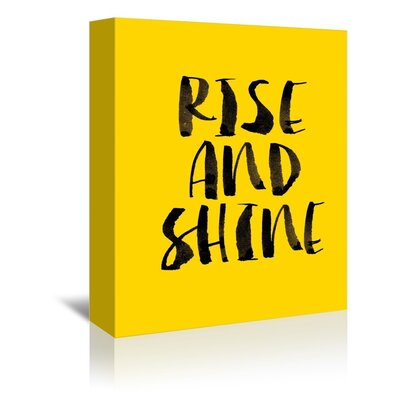 Americanflat Rise and Shine Typography Wrapped on Canvas in Yellow