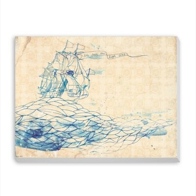 Americanflat Blue Ship Art Print Wrapped on Canvas
