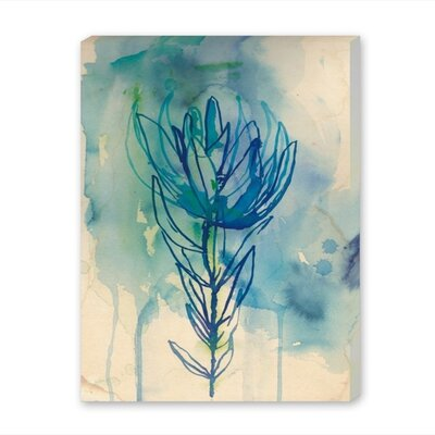 Americanflat Blue Wash Protea Art Print Wrapped on Canvas
