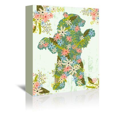 Americanflat Floral Bear Graphic Art Wrapped on Canvas