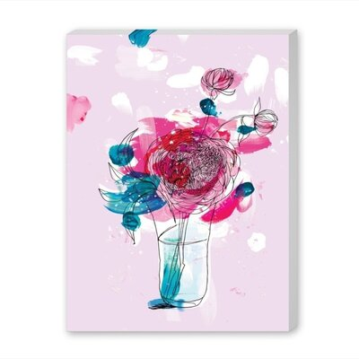 Americanflat Pink Flowers Art Print Wrapped on Canvas