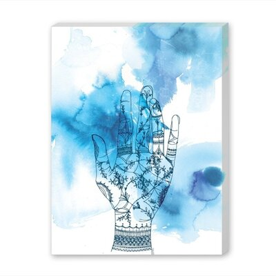 Americanflat Blue Wash Hand Graphic Art Wrapped on Canvas