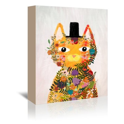Americanflat 'Flower Cat' by Mia Charro Graphic Art Wrapped on Canvas