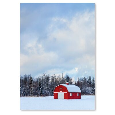 Americanflat Snow Red House Photographic Print on Wrapped Canvas