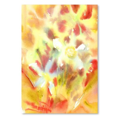 Americanflat 'Abstract Yellow Flowers' by Suren Nersisyan Painting Print on Wrapped Canvas