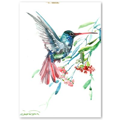 Americanflat 'Humming Bird and Flowers' by Suren Nersisyan Painting Print on Wrapped Canvas