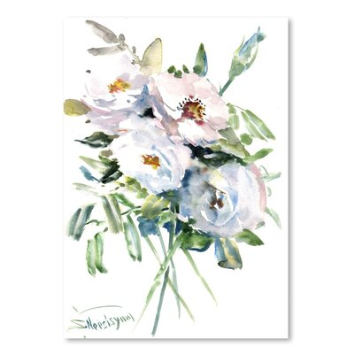 Americanflat 'White Roses' by Suren Nersisyan Painting Print on Wrapped Canvas