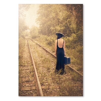 Americanflat Girl on Tracks Photographic Print on Wrapped Canvas