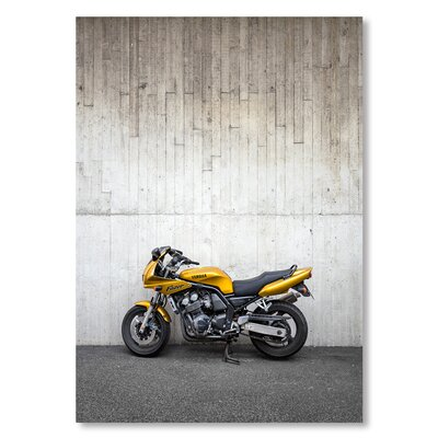 Americanflat Bike Yellow Photographic Print Wrapped on Canvas
