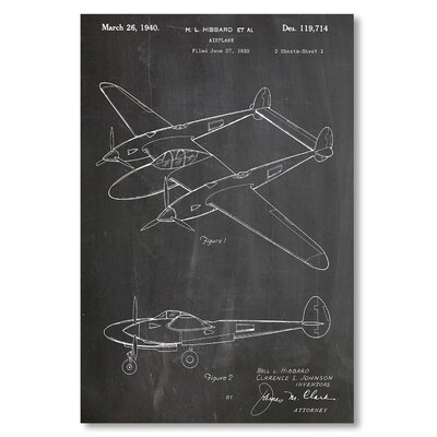Americanflat 'P 38 Plane' by House of Borders Graphic Art Wrapped on Canvas