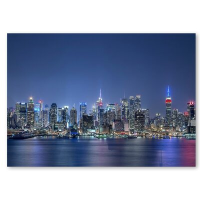 Americanflat 'Skyscrapers Night Blue' by Lina Kremsdorf Photographic Print on Wrapped Canvas