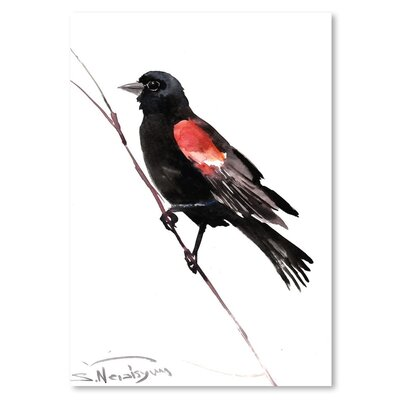 Americanflat 'Winged Black Bird' by Suren Nersisyan Painting Print on Wrapped Canvas