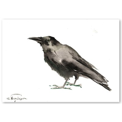 Americanflat 'Crow 3' by Suren Nersisyan Graphic Art on Wrapped Canvas in Grey