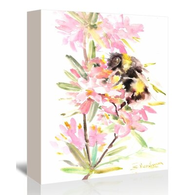 Americanflat 'Bee and Flowers' by Suren Nersisyan Graphic Art on Wrapped Canvas