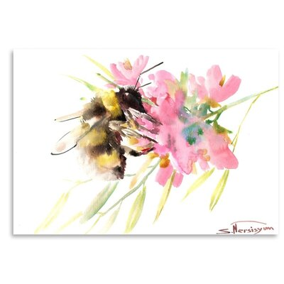 Americanflat 'Bee and Soft Pink Flowers' by Suren Nersisyan Graphic Art on Wrapped Canvas