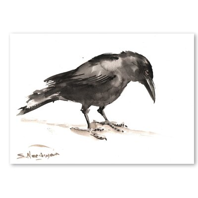 Americanflat 'Crow' by Suren Nersisyan Graphic Art on Wrapped Canvas in Grey