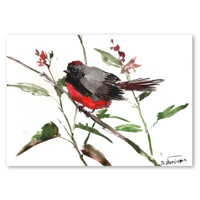 Americanflat 'State Throated Redstart' by Suren Nersisyan Painting Print on Wrapped Canvas