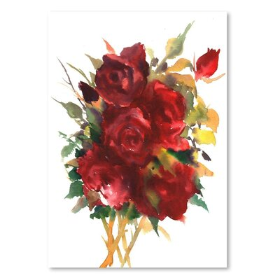 Americanflat Deep Roses Painting Print on Wrapped Canvas