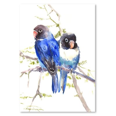 Americanflat 'Blue Masked Lovebirds' by Suren Nersisyan Painting Print on Wrapped Canvas