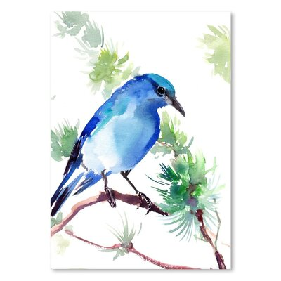 Americanflat Mountain Bluebird Painting Print on Wrapped Canvas