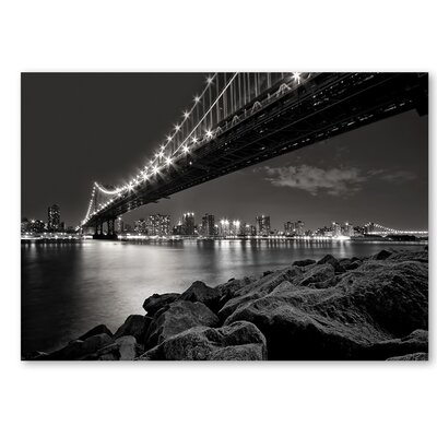 Americanflat 'Bridge Night' by Lina Kremsdorf Photographic Print on Wrapped Canvas in Grey
