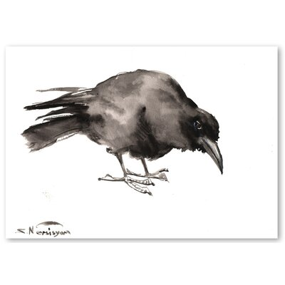 Americanflat 'Crow 2' by Suren Nersisyan Painting Print on Wrapped Canvas in Grey