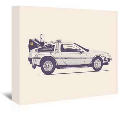 Americanflat 'Delorean Back to The Future' by Florent Bodart Graphic Art Wrapped on Canvas