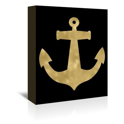 Americanflat 'Anchor Gold on Black' by Amy Brinkman Graphic Art Wrapped on Canvas