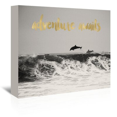 Americanflat 'Dolphins Adventure Awaits Gold on Black White Photo' by Amy Brinkman Graphic Art Wrapped on Canvas