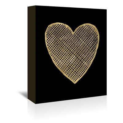 Americanflat 'Heart Cross Hatched Gold on Black' by Amy Brinkman Graphic Art Wrapped on Canvas