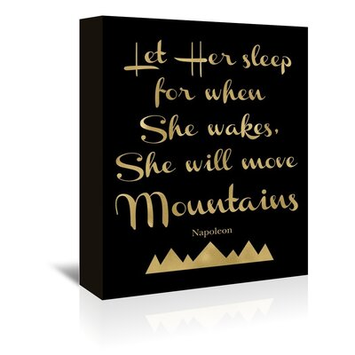 Americanflat 'Let Her Sleep Mountains Gold on Black' by Amy Brinkman Typography Wrapped on Canvas