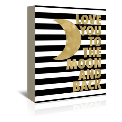 Americanflat 'Love You Moon Back Black White Stripe' by Amy Brinkman Graphic Art Wrapped on Canvas