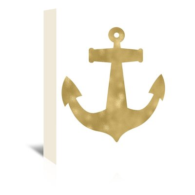 Americanflat 'Anchor Gold on White' by Amy Brinkman Graphic Art Wrapped on Canvas