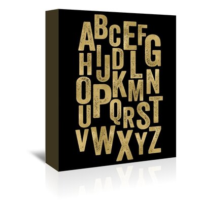 Americanflat 'Alphabet Gold on Black' by Amy Brinkman Typography Wrapped on Canvas
