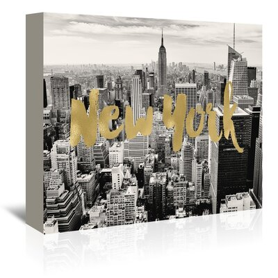 Americanflat 'New York Skyline Gold on Black White Photo' by Amy Brinkman Graphic Art Wrapped on Canvas