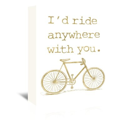 Americanflat 'Bicycle I'd Ride Anywhere Gold on White' by Amy Brinkman Graphic Art Wrapped on Canvas
