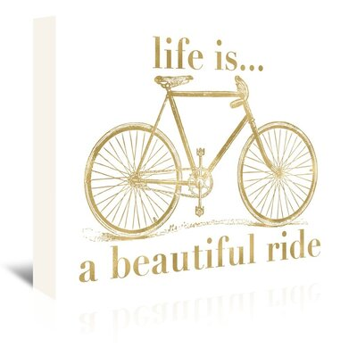 Americanflat 'Bicycle Life Is Beautiful Ride Gold on White' by Amy Brinkman Graphic Art Wrapped on Canvas