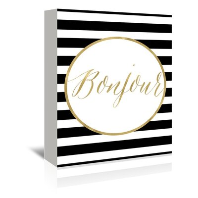 Americanflat 'Bonjour Stripe' by Amy Brinkman Typography Wrapped on Canvas