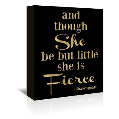 Americanflat 'Fierce Shakespeare Gold on Black' by Amy Brinkman Typography Wrapped on Canvas