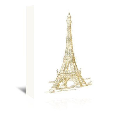 Americanflat 'Eiffel Tower Gold On White' by Amy Brinkman Graphic Art Wrapped on Canvas