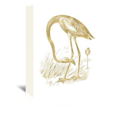 Americanflat 'Flamingo 1 Gold on White' by Amy Brinkman Graphic Art Wrapped on Canvas