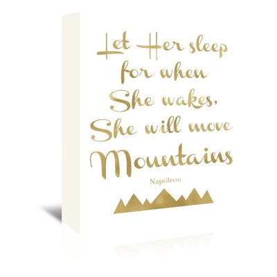 Americanflat 'Let Her Sleep Mountains' by Amy Brinkman Typography Wrapped on Canvas