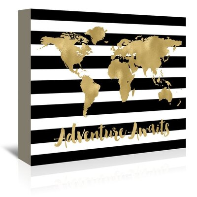 Americanflat 'World Map Stripe Adventure Awaits' by Amy Brinkman Graphic Art Wrapped on Canvas