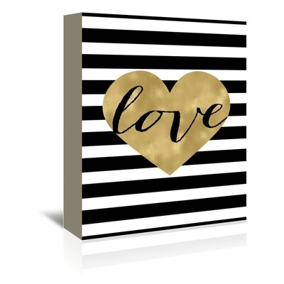Americanflat 'Love Heart Black White Stripe' by Amy Brinkman Graphic Art Wrapped on Canvas