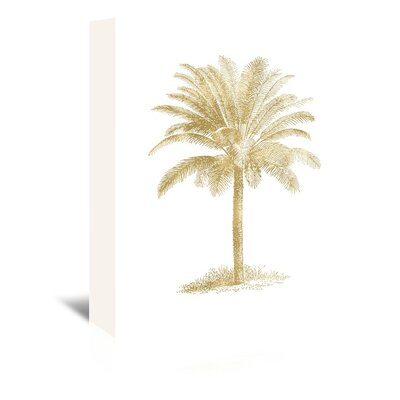 Americanflat 'Palm Tree Gold on White' by Amy Brinkman Graphic Art Wrapped on Canvas