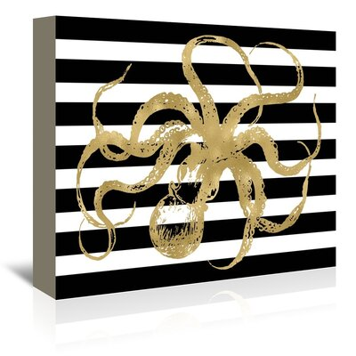 Americanflat 'Octopus Black White Stripe' by Amy Brinkman Graphic Art Wrapped on Canvas
