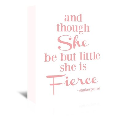 Americanflat 'She Is Fierce V2' by Amy Brinkman Typography Wrapped on Canvas in Pink